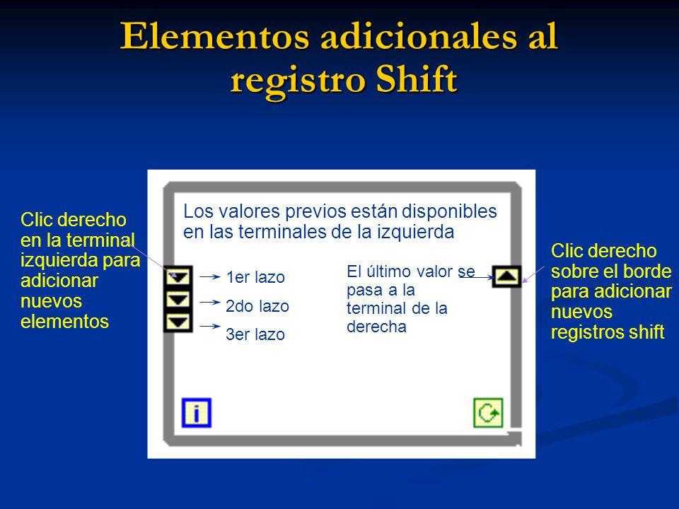 Elementos adicionales al registro Shift