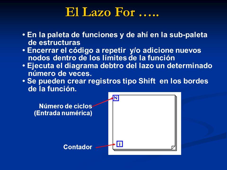 El Lazo For ….. • En la paleta de funciones y de ahí en la sub-paleta de estructuras.