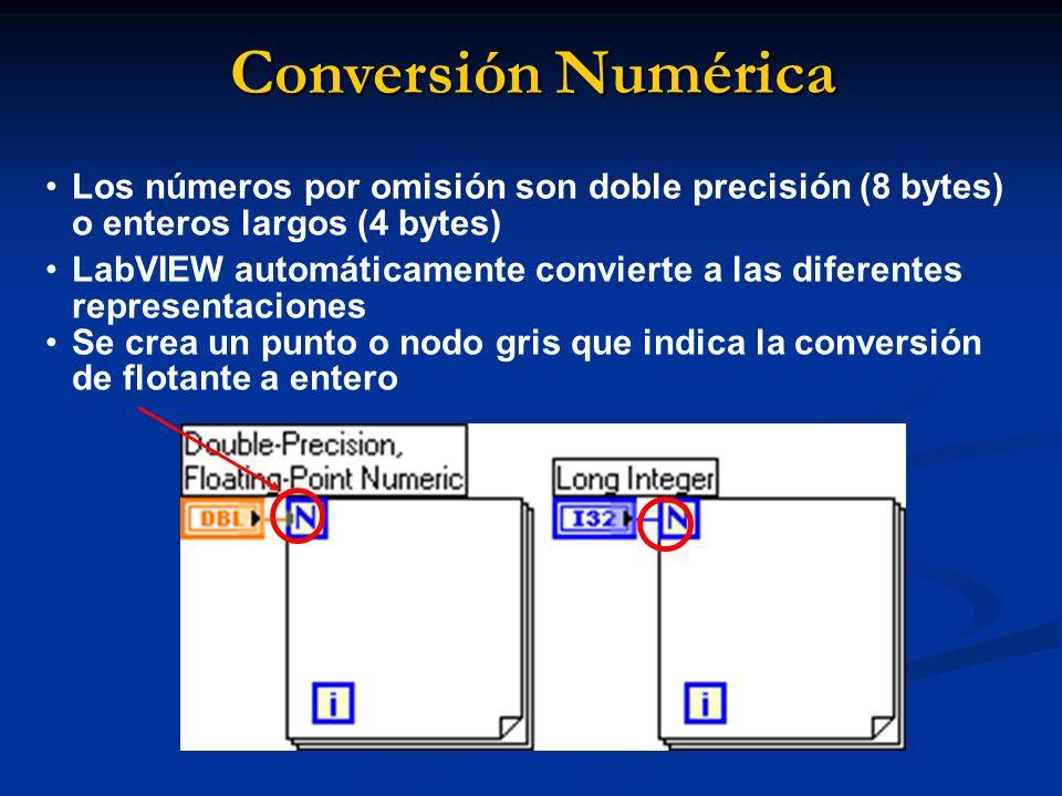 Conversión Numérica Los números por omisión son doble precisión (8 bytes) o enteros largos (4 bytes)