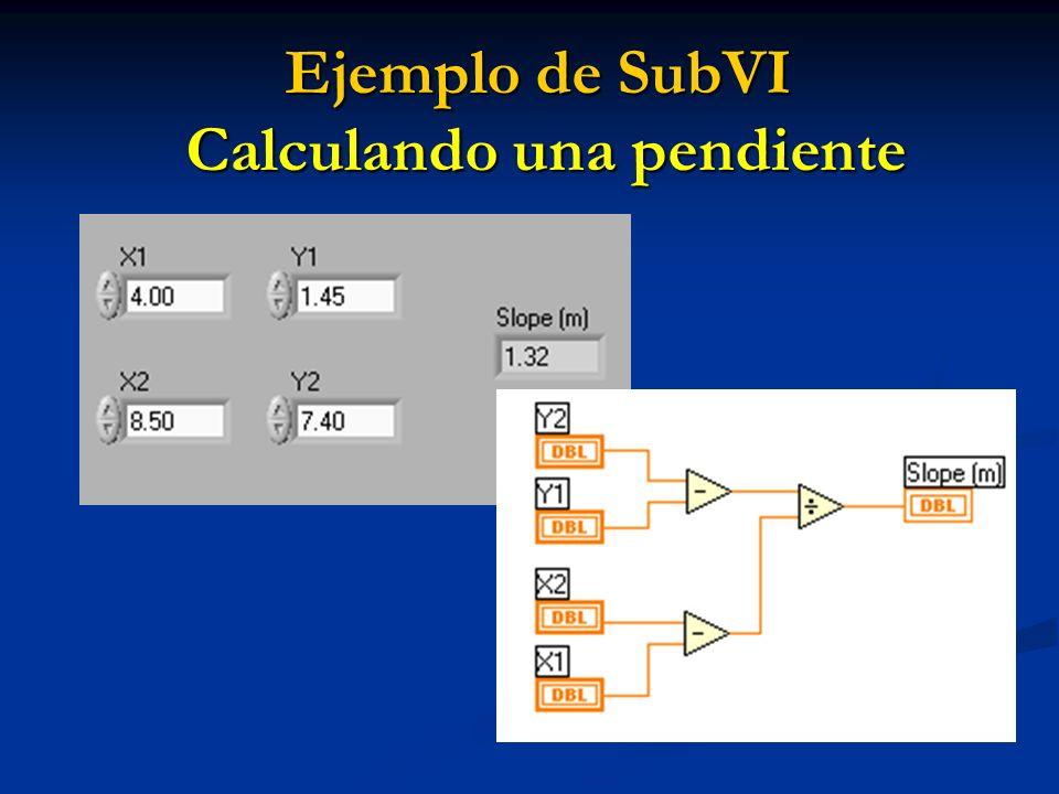 Ejemplo de SubVI Calculando una pendiente