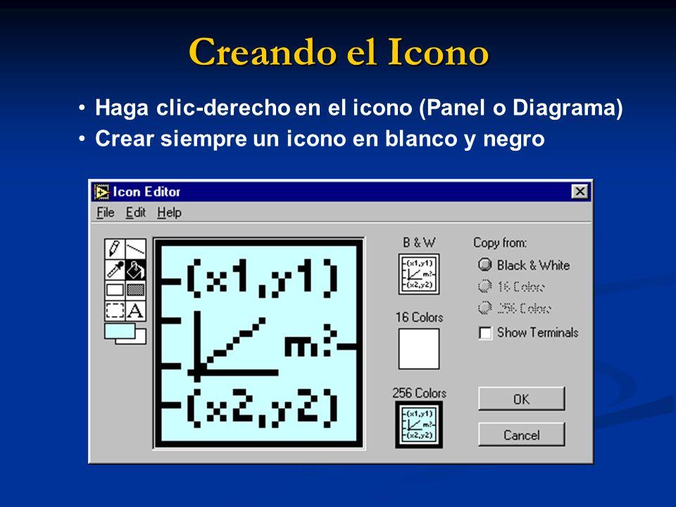 Creando el Icono Haga clic-derecho en el icono (Panel o Diagrama)