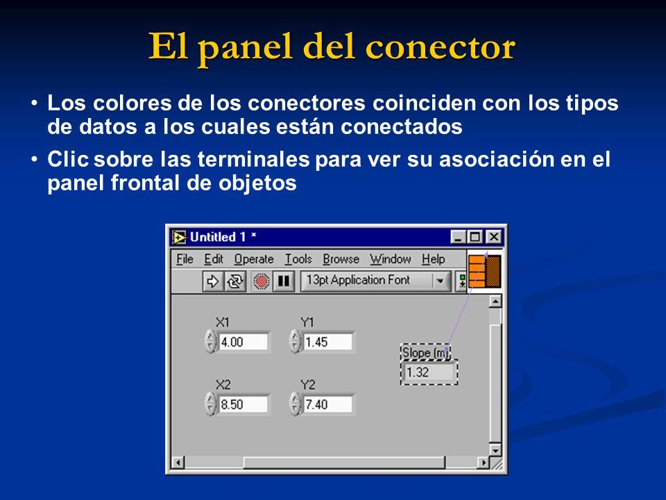 El panel del conector Los colores de los conectores coinciden con los tipos de datos a los cuales están conectados.