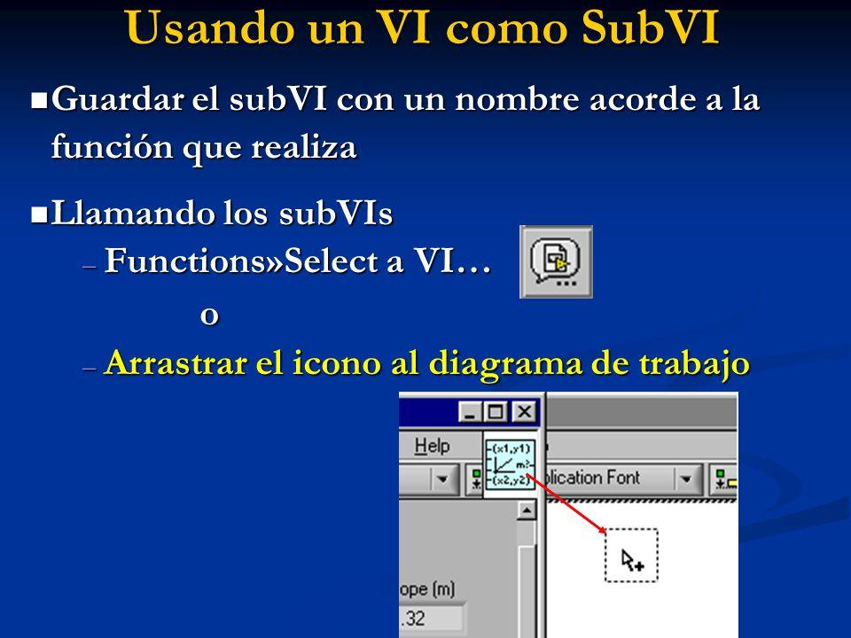 Usando un VI como SubVI Guardar el subVI con un nombre acorde a la función que realiza. Llamando los subVIs.
