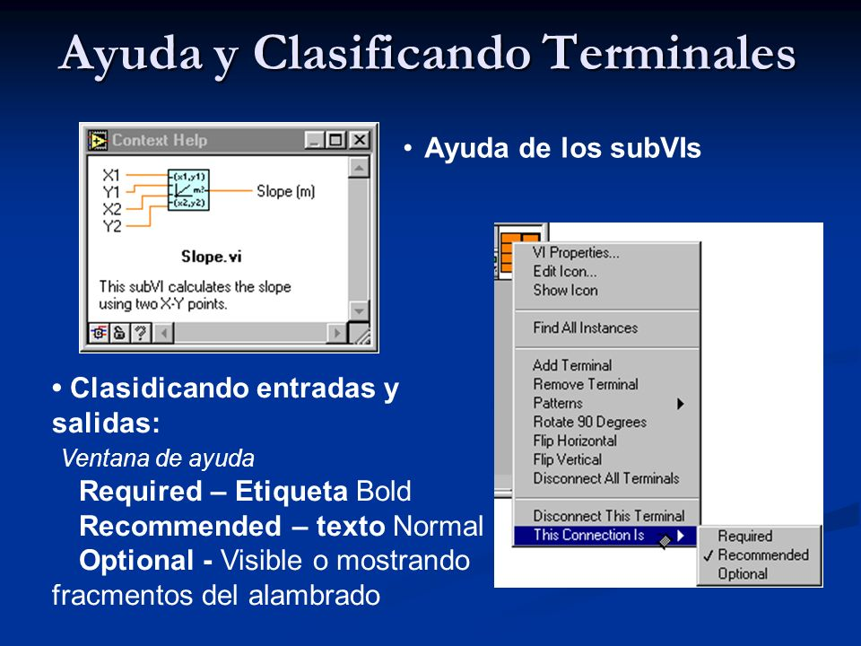 Ayuda y Clasificando Terminales