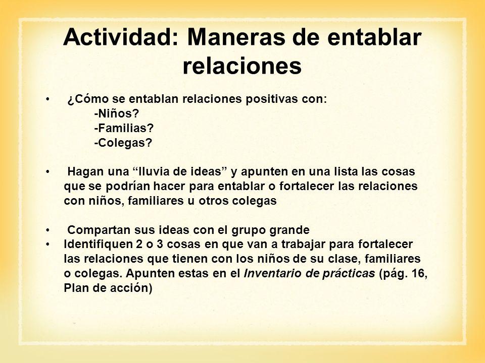 Actividad: Maneras de entablar relaciones