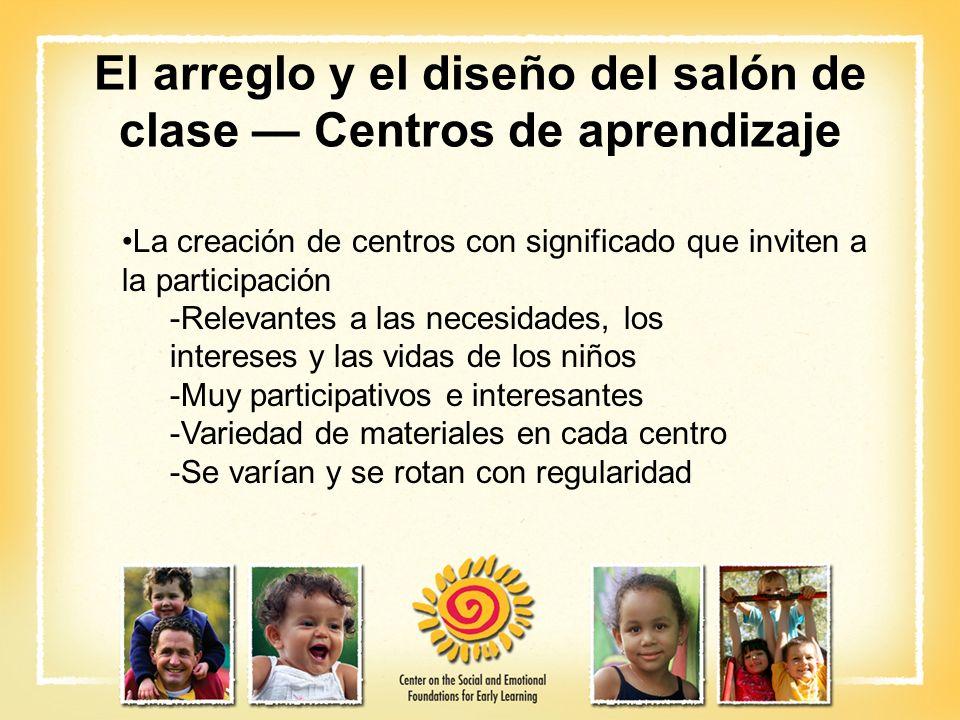 El arreglo y el diseño del salón de clase — Centros de aprendizaje