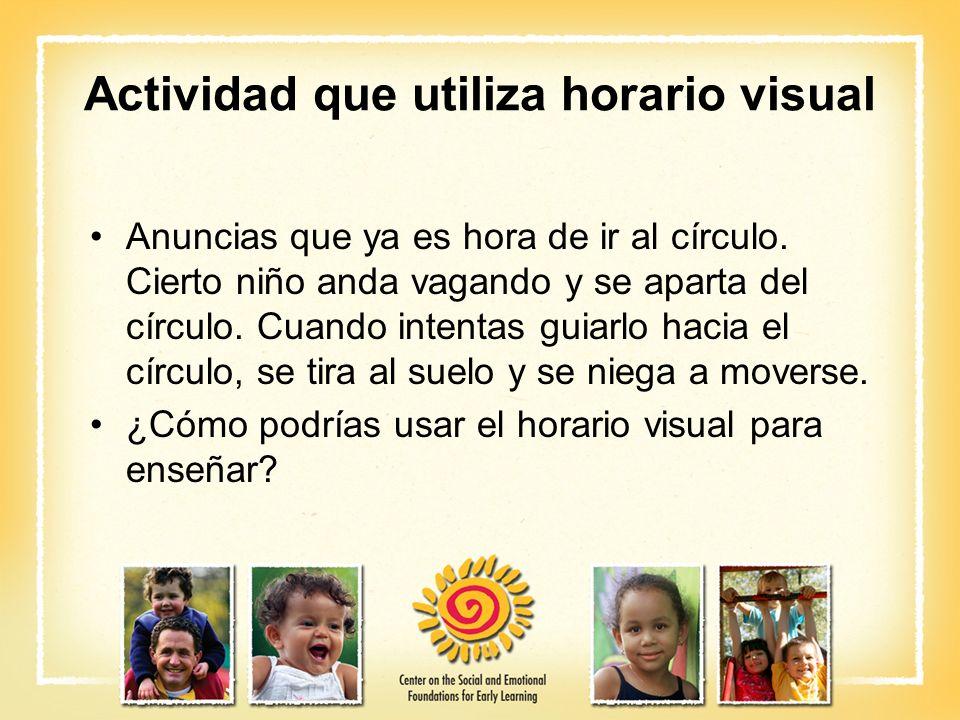Actividad que utiliza horario visual