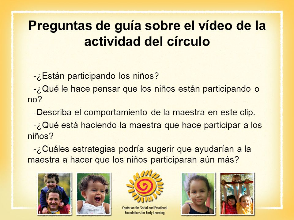 Preguntas de guía sobre el vídeo de la actividad del círculo