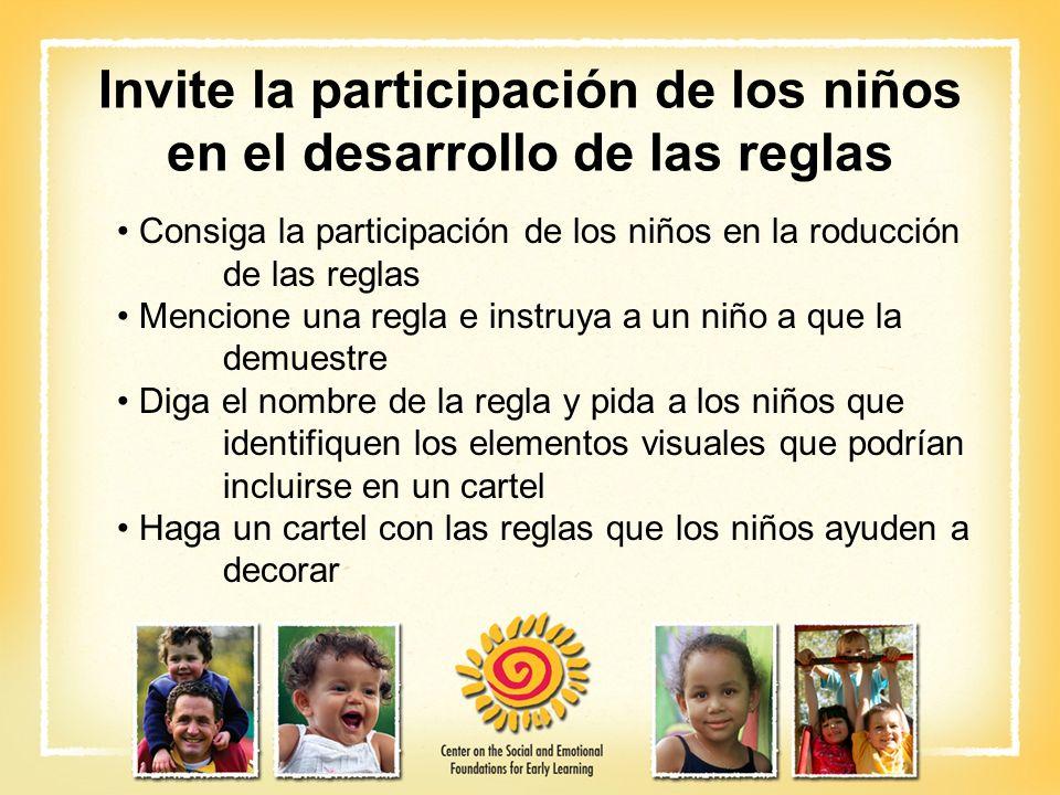 Invite la participación de los niños en el desarrollo de las reglas