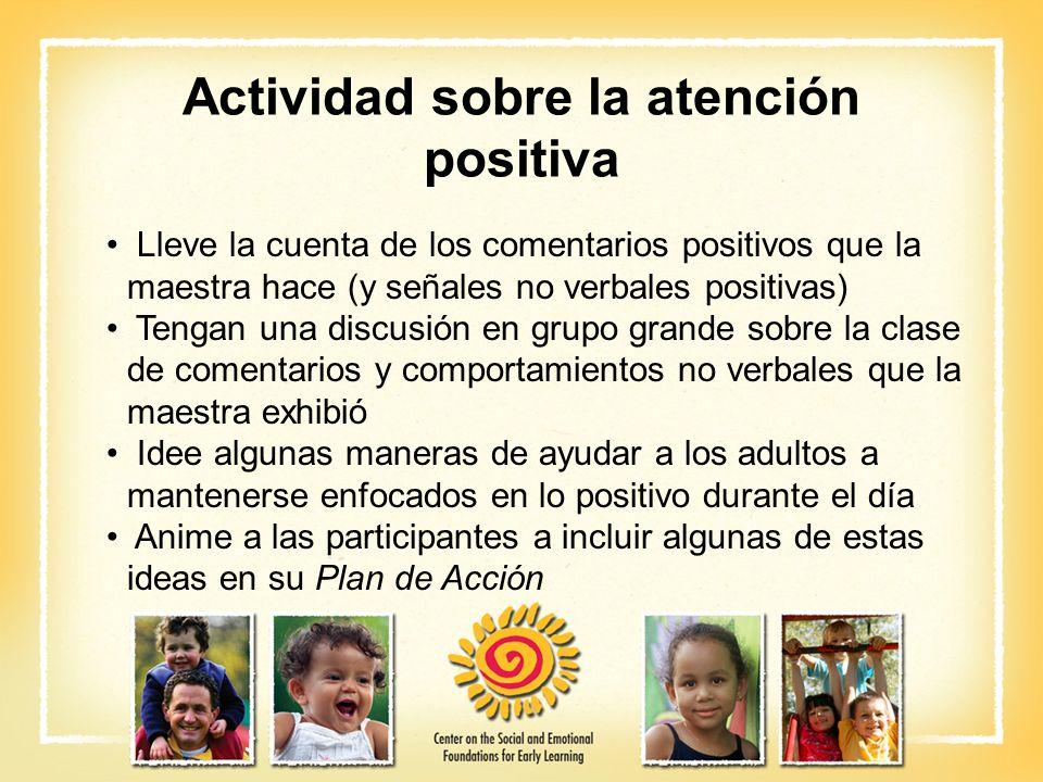 Actividad sobre la atención positiva