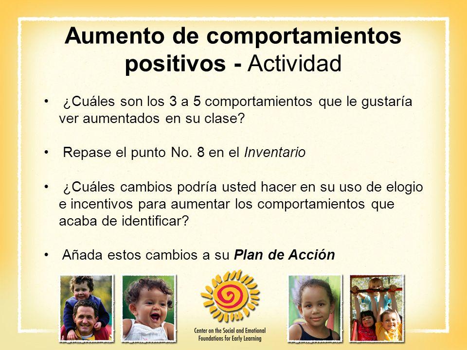 Aumento de comportamientos positivos - Actividad