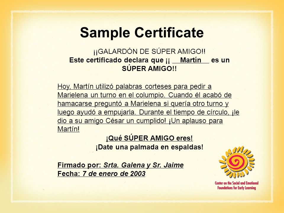 Sample Certificate ¡¡GALARDÓN DE SÚPER AMIGO!!