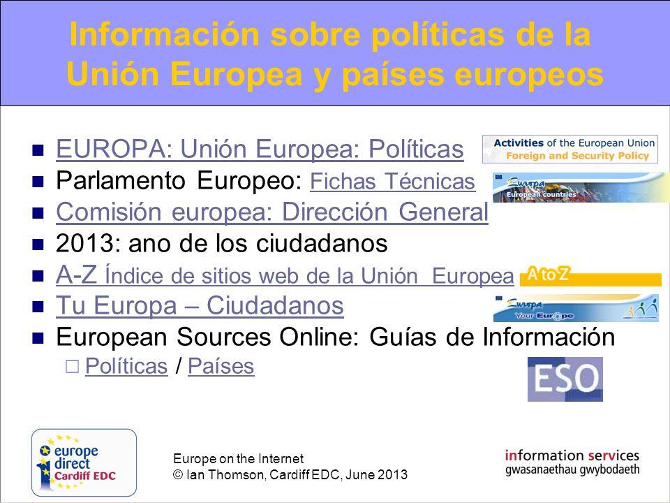 Información sobre políticas de la Unión Europea y países europeos