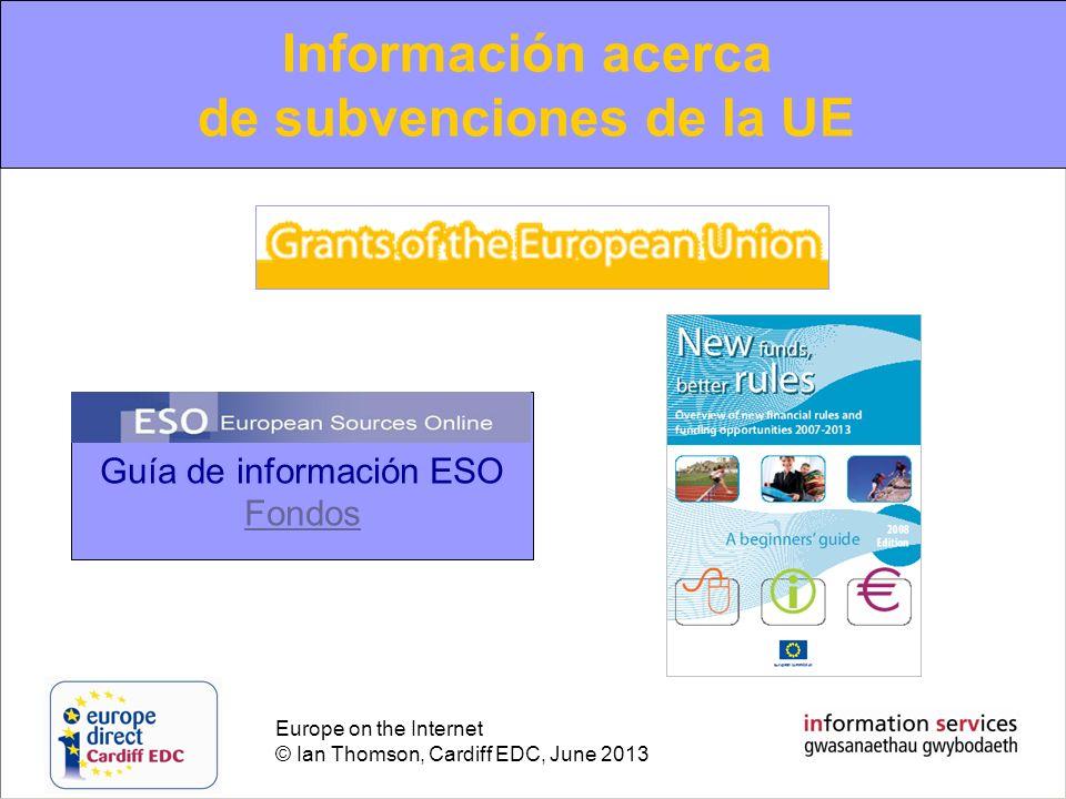 Información acerca de subvenciones de la UE