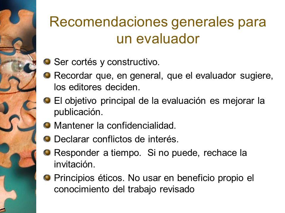 Recomendaciones generales para un evaluador