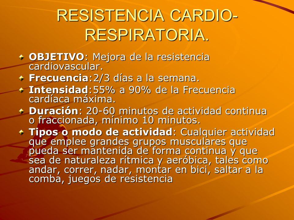RESISTENCIA CARDIO-RESPIRATORIA.