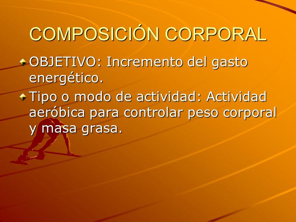 COMPOSICIÓN CORPORAL OBJETIVO: Incremento del gasto energético.