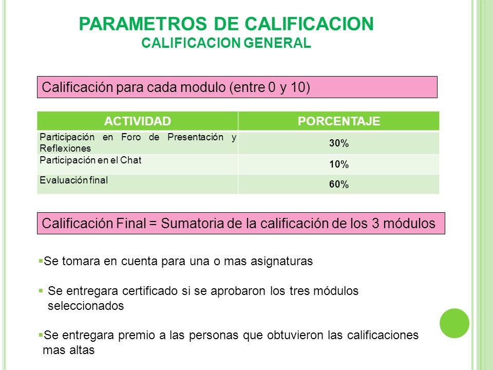 PARAMETROS DE CALIFICACION CALIFICACION GENERAL