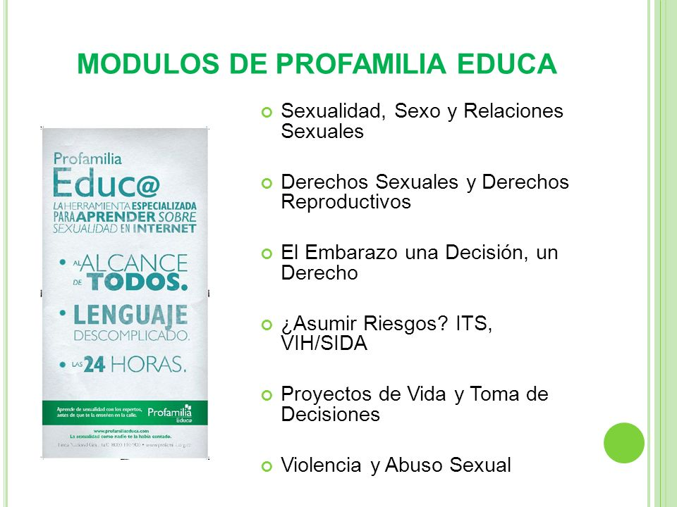 MODULOS DE PROFAMILIA EDUCA