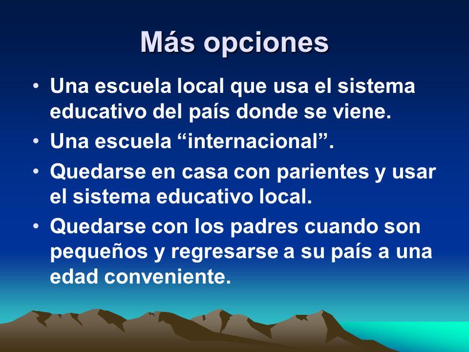Más opciones Una escuela local que usa el sistema educativo del país donde se viene. Una escuela internacional .