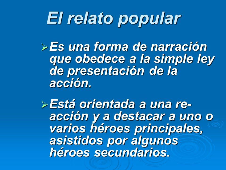 El relato popular Es una forma de narración que obedece a la simple ley de presentación de la acción.