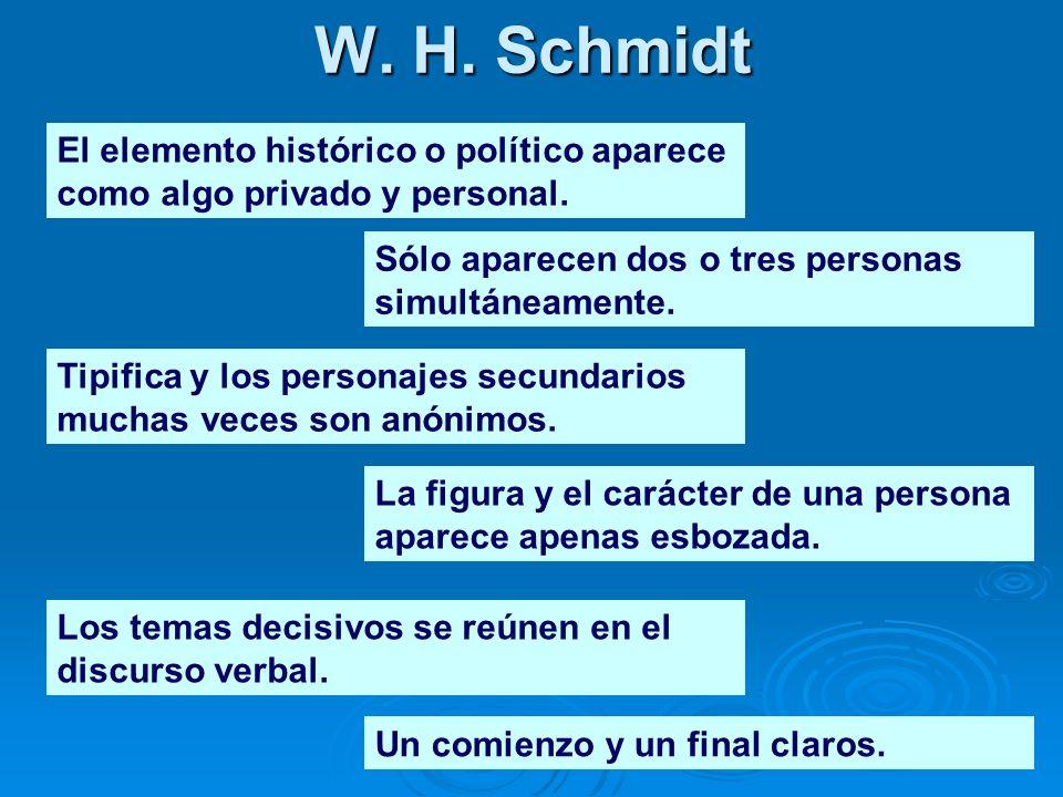 W. H. Schmidt El elemento histórico o político aparece como algo privado y personal. Sólo aparecen dos o tres personas simultáneamente.