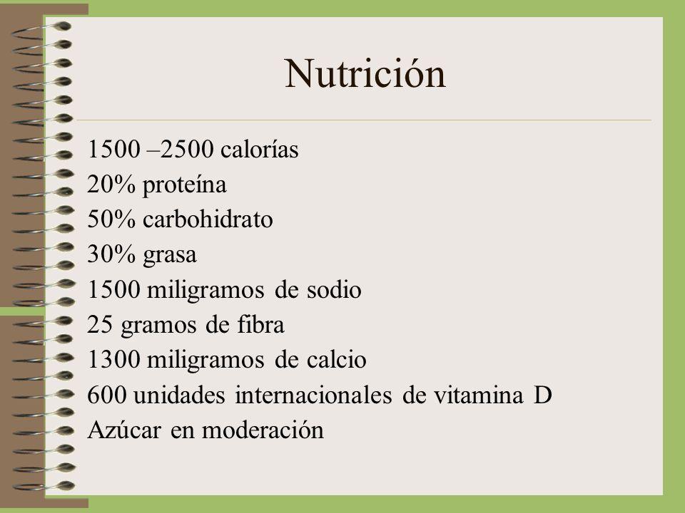 Nutrición 1500 –2500 calorías 20% proteína 50% carbohidrato 30% grasa