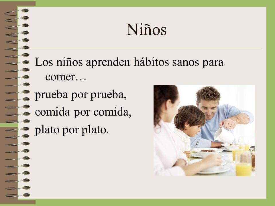 Niños Los niños aprenden hábitos sanos para comer… prueba por prueba,