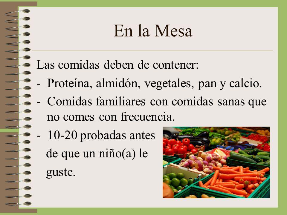 En la Mesa Las comidas deben de contener: