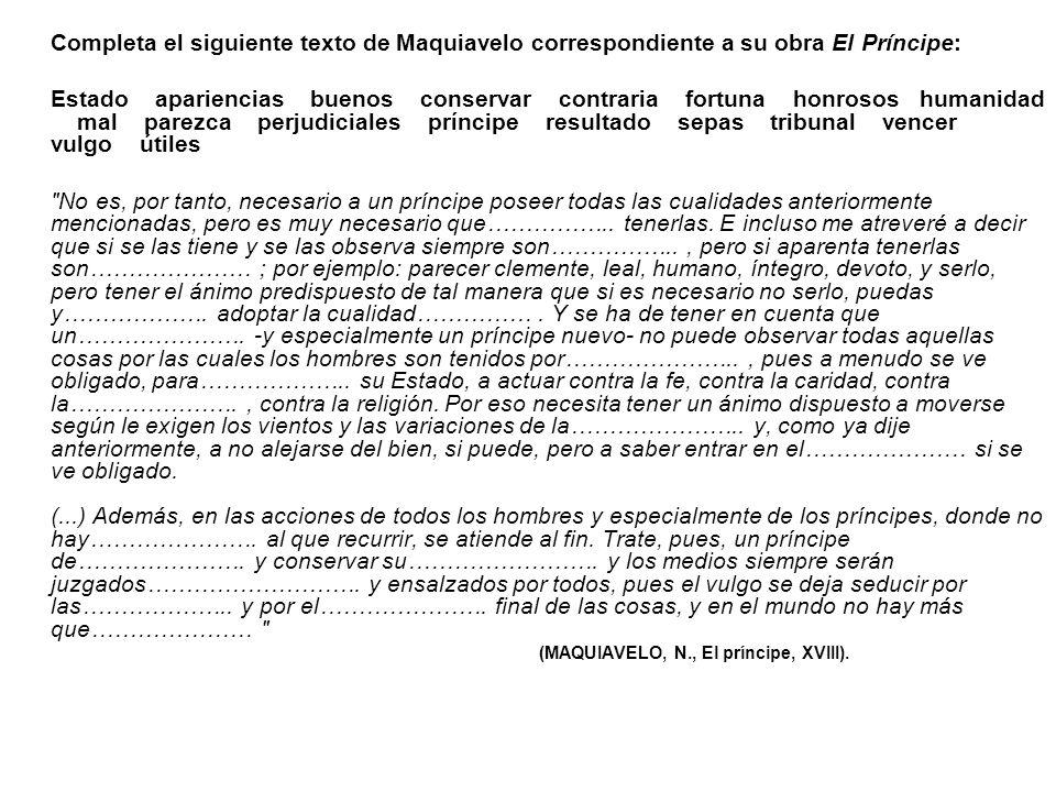 Completa el siguiente texto de Maquiavelo correspondiente a su obra El Príncipe: