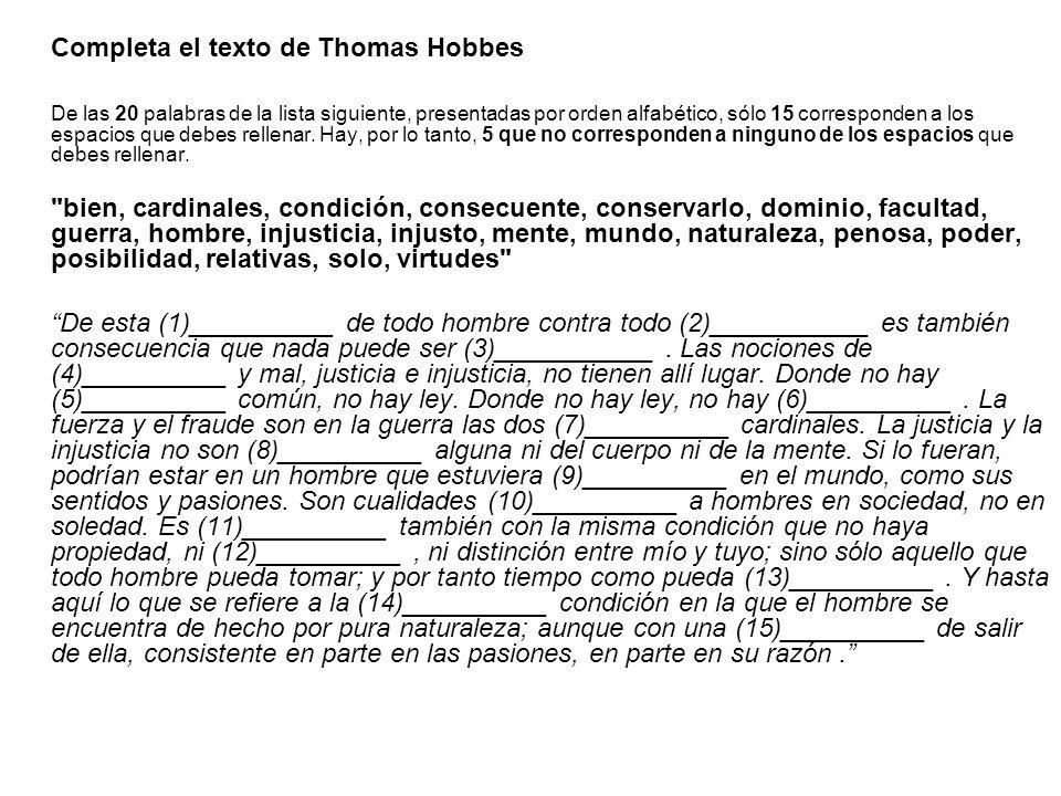 Completa el texto de Thomas Hobbes