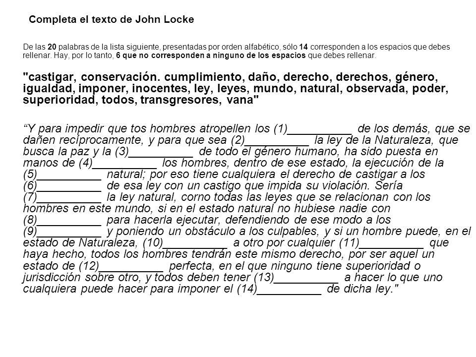 Completa el texto de John Locke