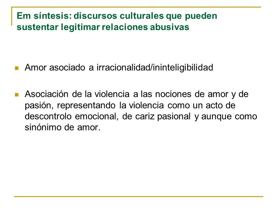 Em síntesis: discursos culturales que pueden sustentar legitimar relaciones abusivas