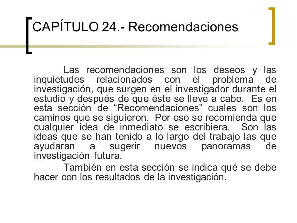 CAPÍTULO 24.- Recomendaciones