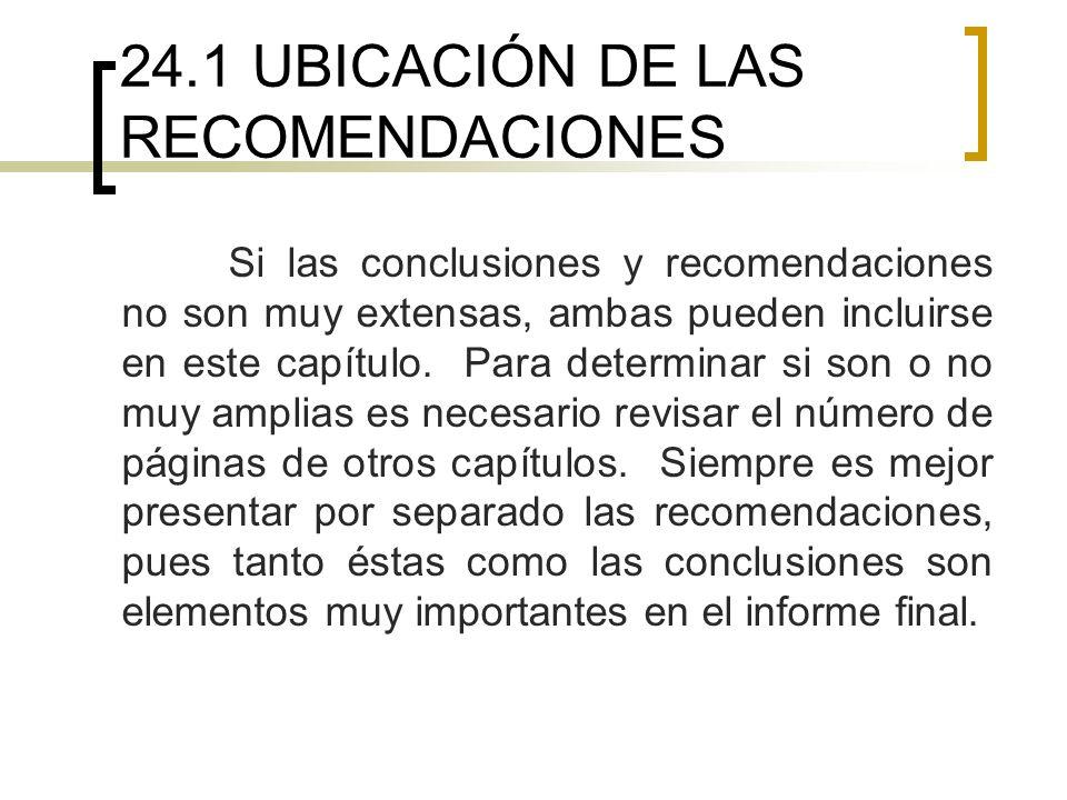 24.1 UBICACIÓN DE LAS RECOMENDACIONES
