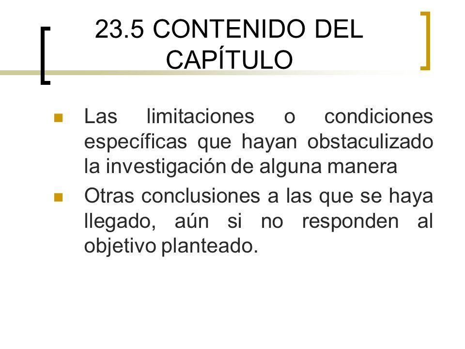 23.5 CONTENIDO DEL CAPÍTULO