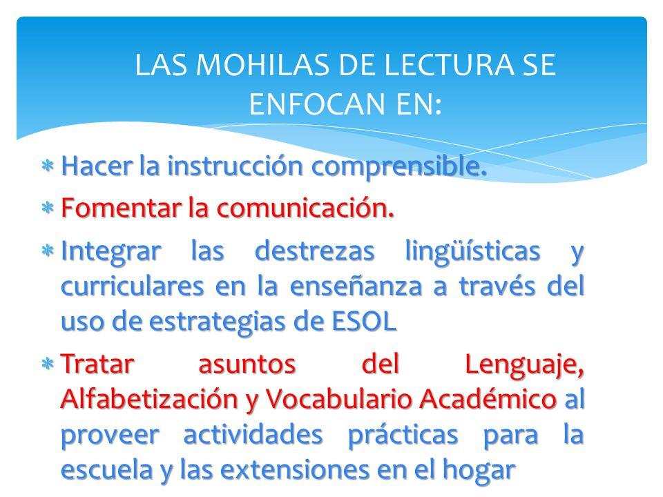 LAS MOHILAS DE LECTURA SE ENFOCAN EN: