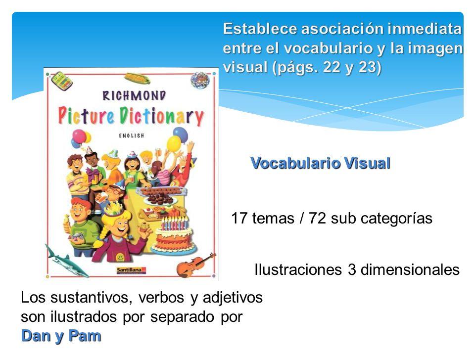Establece asociación inmediata entre el vocabulario y la imagen visual (págs. 22 y 23)