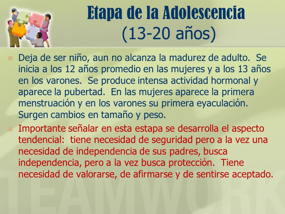 Etapa de la Adolescencia (13-20 años)