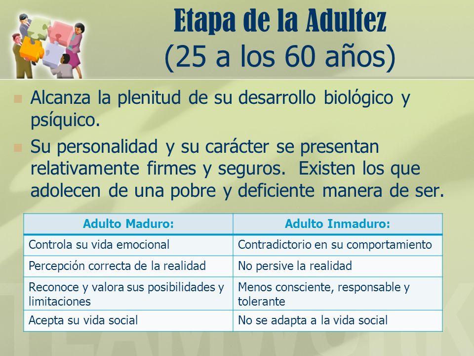 Etapa de la Adultez (25 a los 60 años)