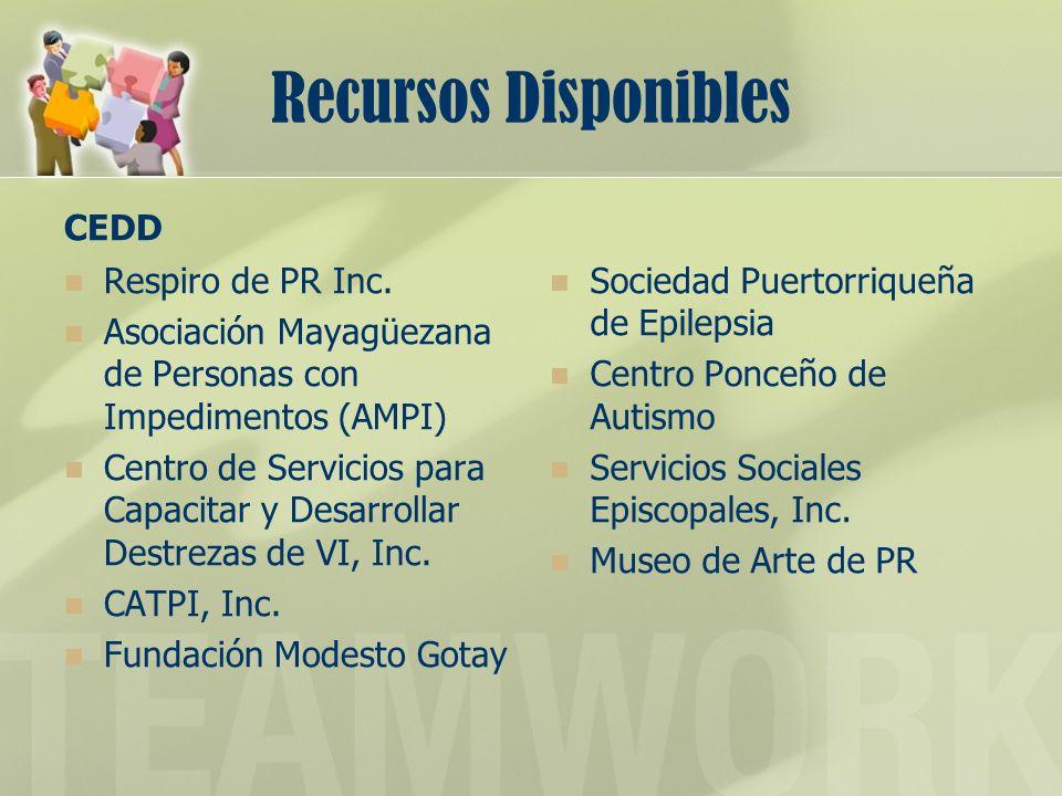 Recursos Disponibles CEDD Respiro de PR Inc.