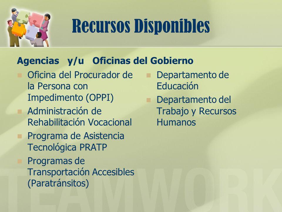 Recursos Disponibles Agencias y/u Oficinas del Gobierno