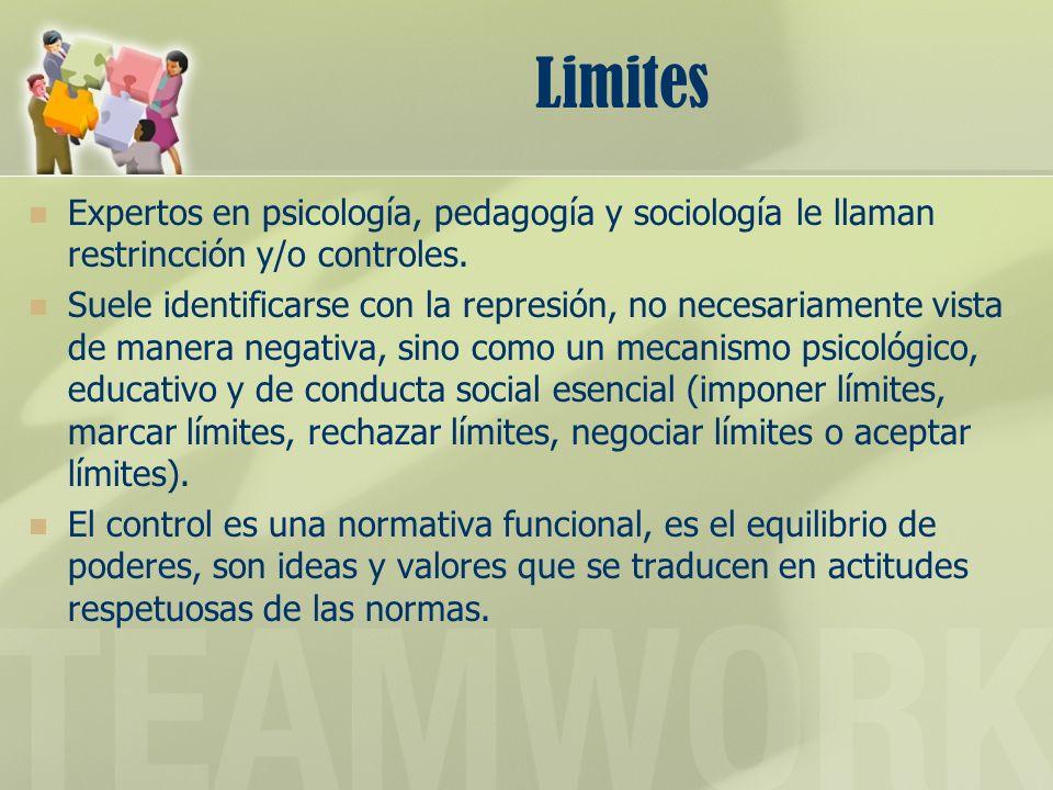 Limites Expertos en psicología, pedagogía y sociología le llaman restrincción y/o controles.