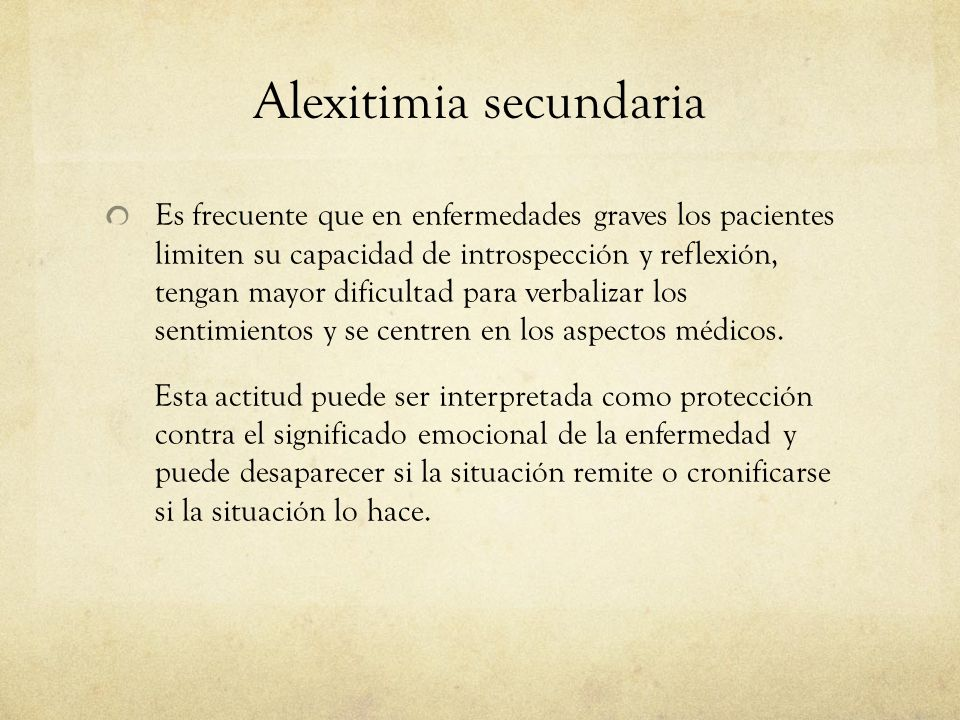 Alexitimia secundaria