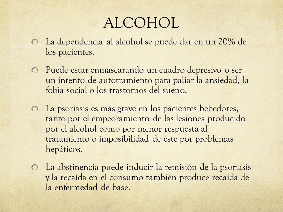 ALCOHOL La dependencia al alcohol se puede dar en un 20% de los pacientes.