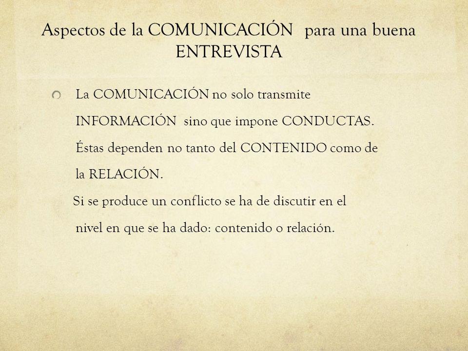 Aspectos de la COMUNICACIÓN para una buena ENTREVISTA