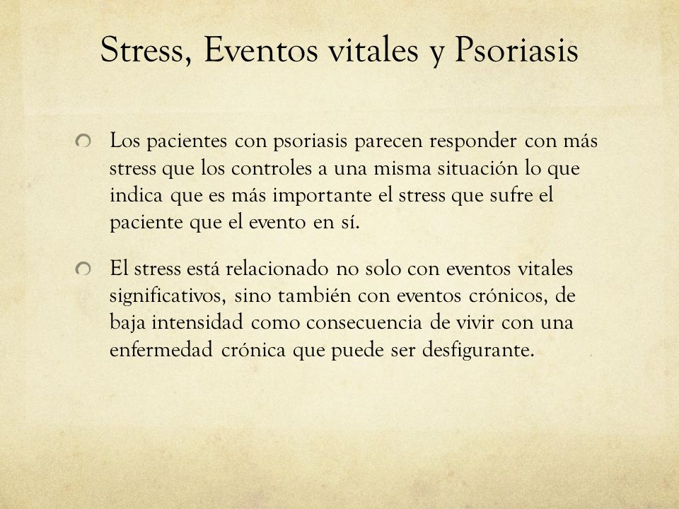 Stress, Eventos vitales y Psoriasis