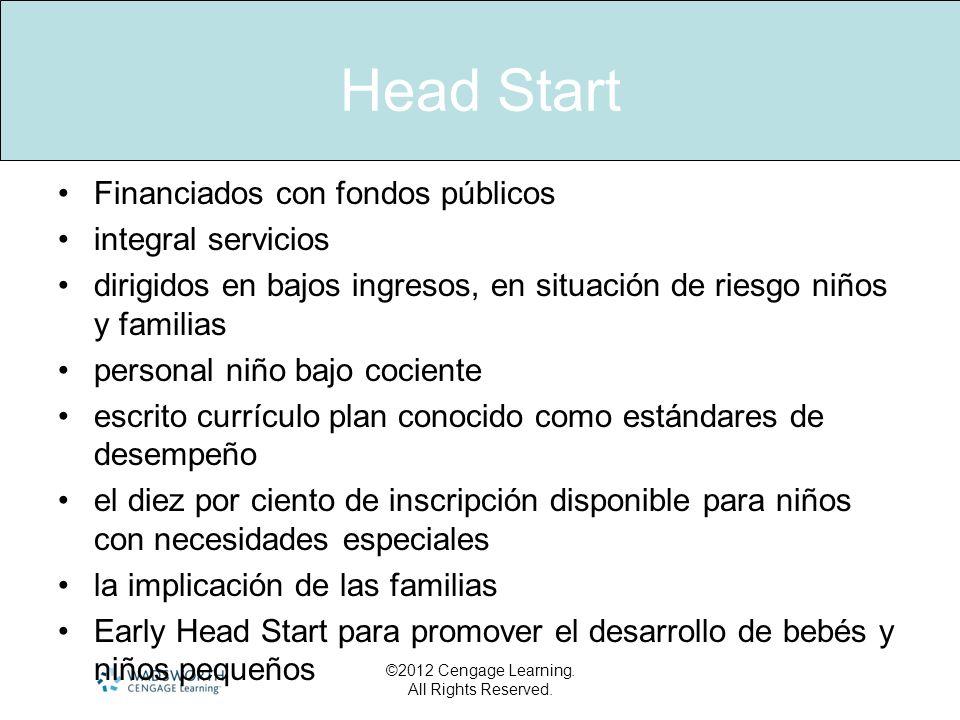 Head Start Financiados con fondos públicos integral servicios