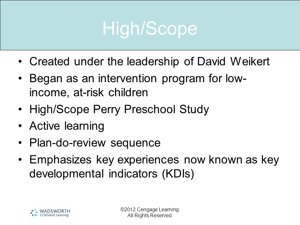 High/Scope Created under the leadership of David Weikert
