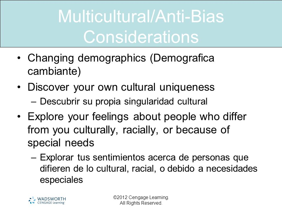 Multicultural/Anti-Bias Considerations